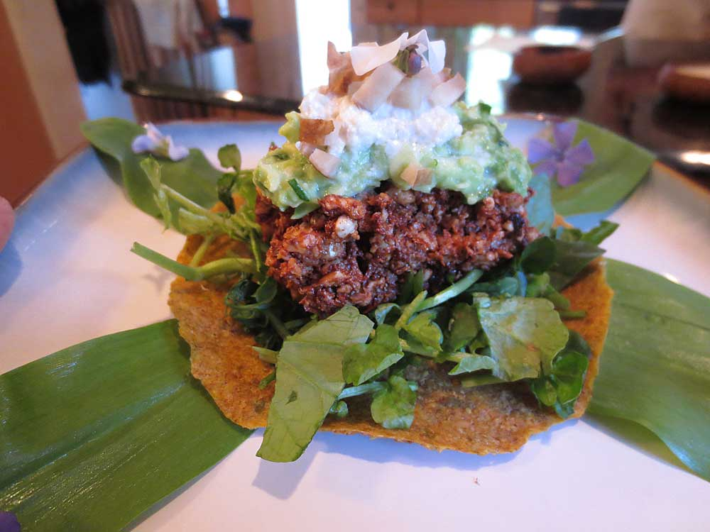 Tostada with watercress