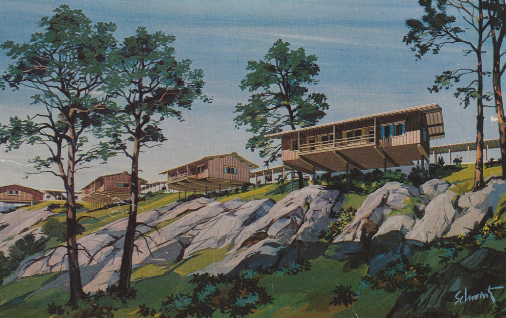 Old postcard of the Motel on the Mountain