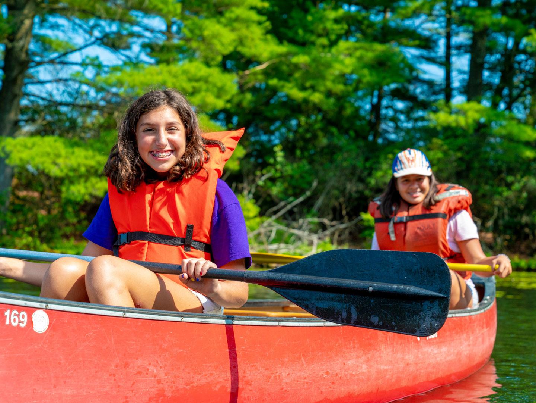 Girls canoeing