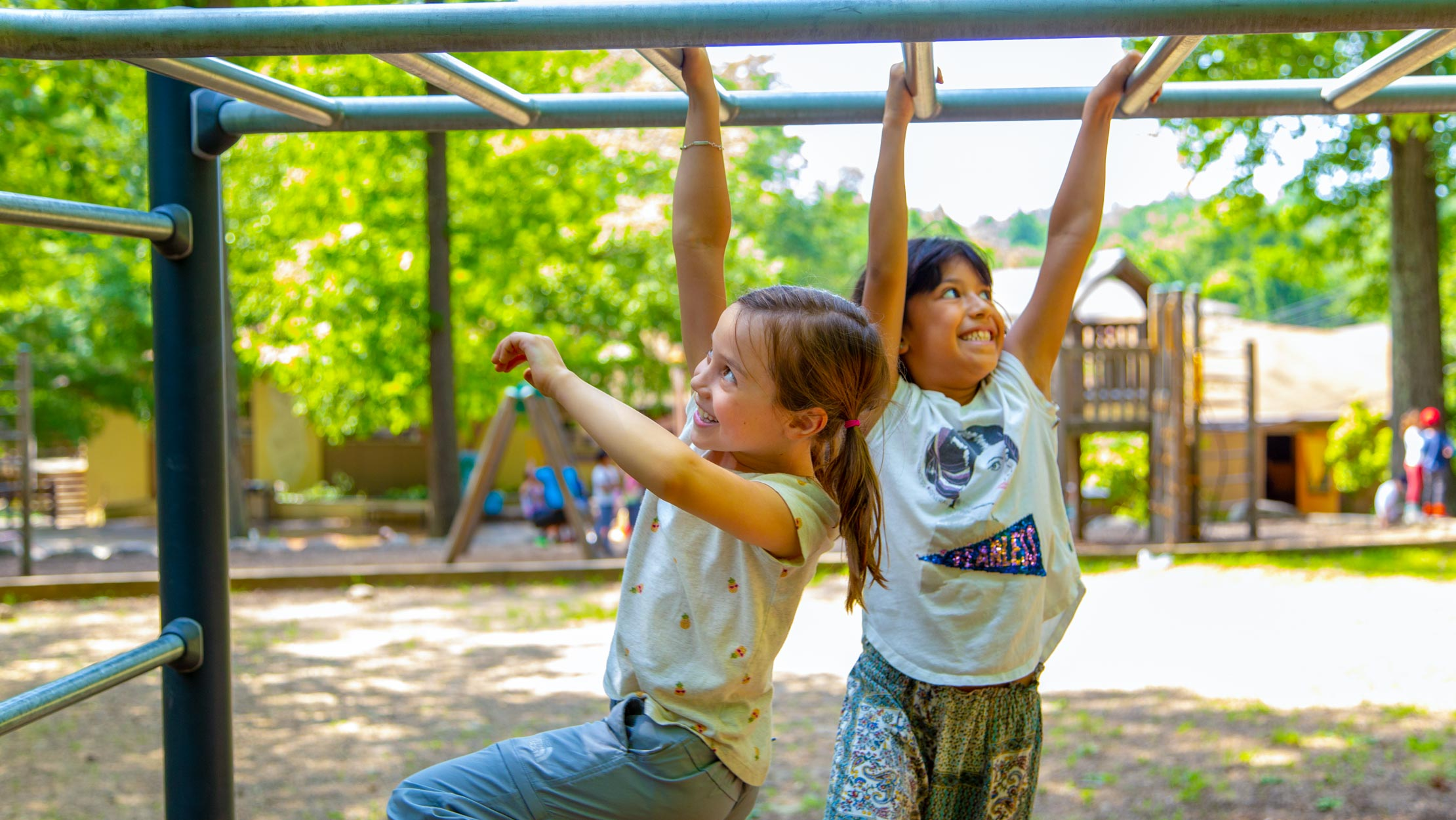 Campers on the monkey bars