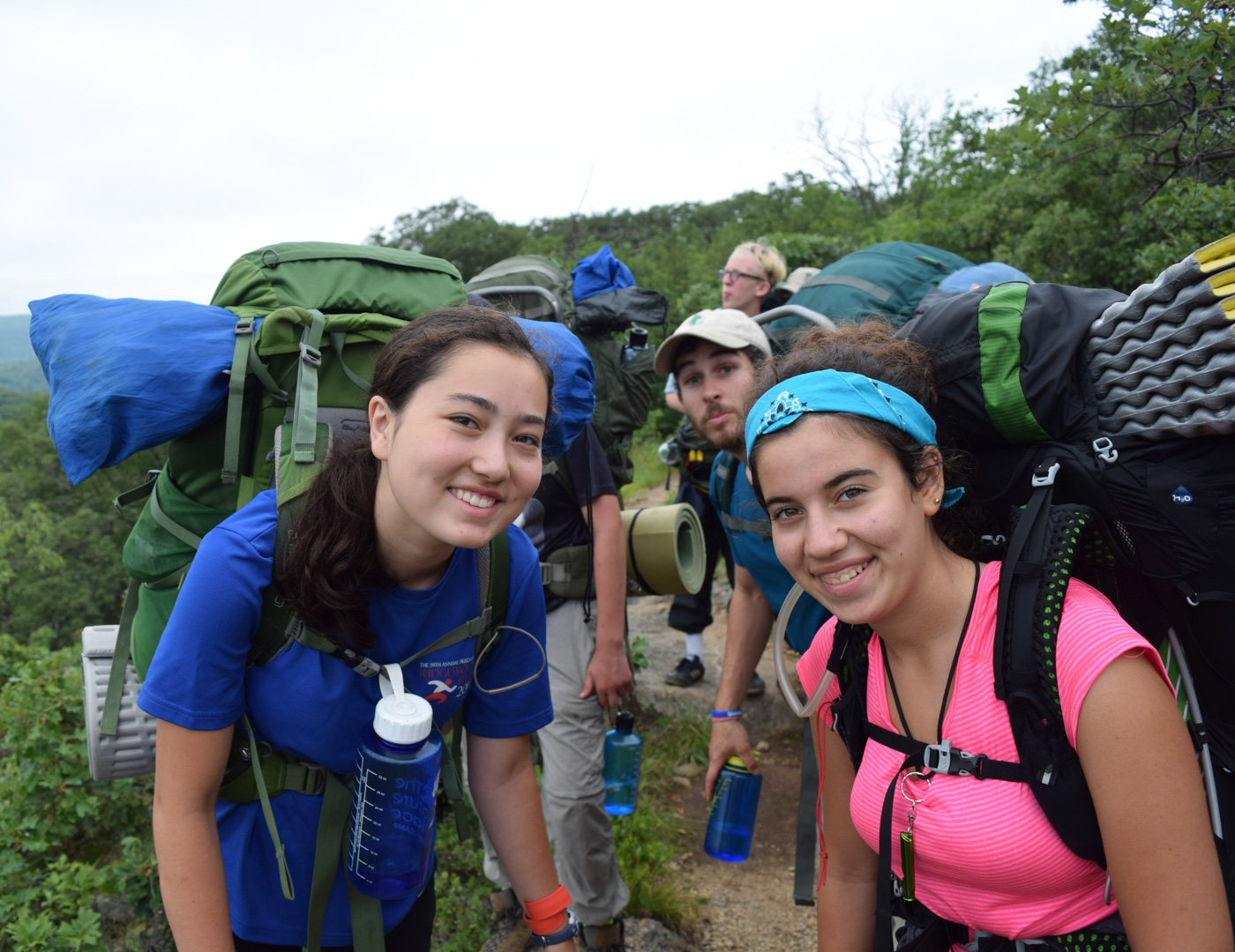 Campers on a backpacking trip in the mountains