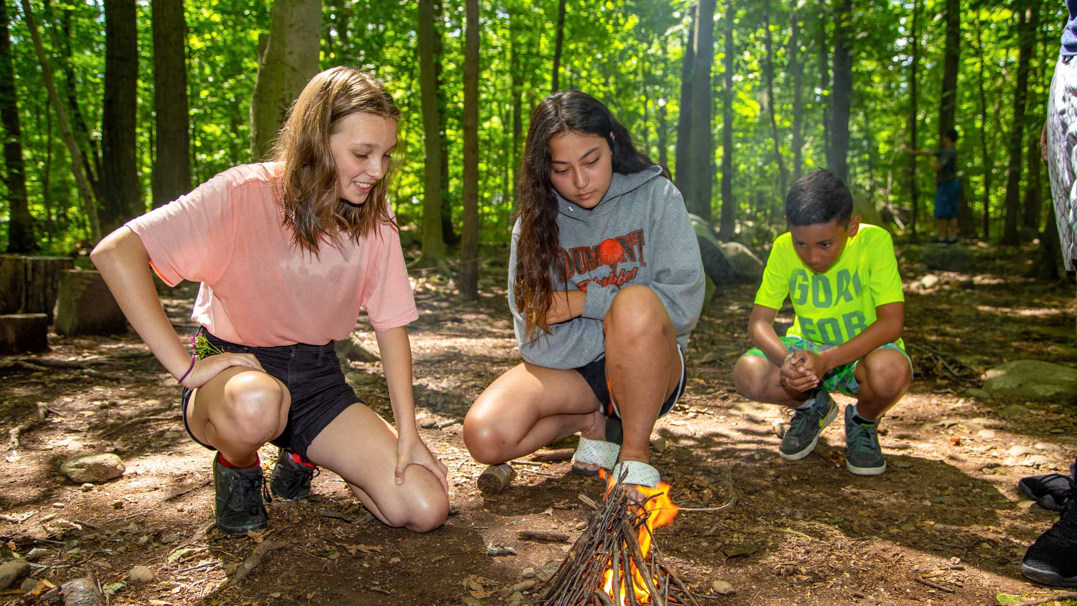 Campers building a fire