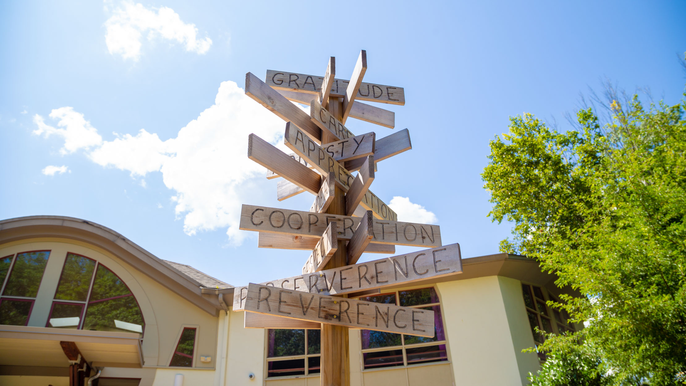 Sign post with many different signs pointing in various directions