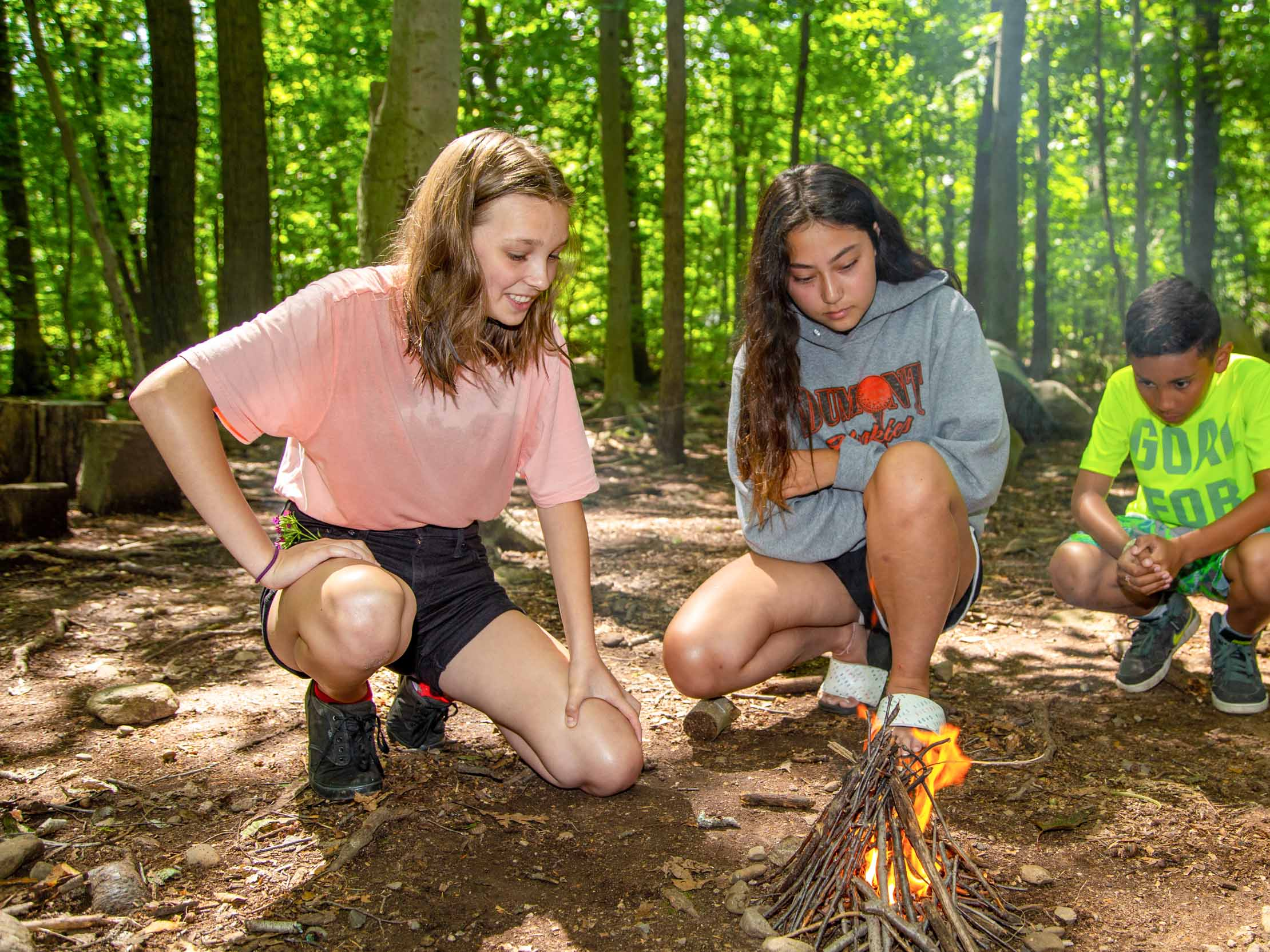 Campers starting a fire